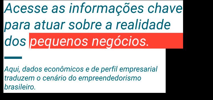 Acesse as informações chave para atuar sobre a realidade dos pequenos negócios